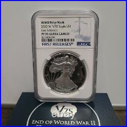 2020 END of WORLD WAR II 75th ANIV SILVER EAGLE V75-NGC PF 70 UC FIRST RELEASES