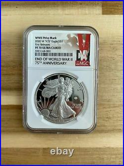 2020 End Of World War II W V75 Silver Eagle $1 Ngc First Releases Pf70