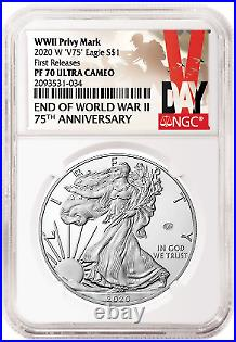 2020 End of World War 2 V75 Silver Eagle Coin NGC PF70 ULTRA CAMEO