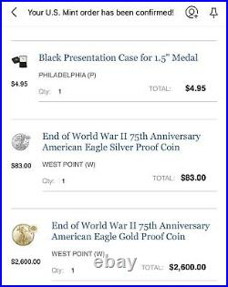 2020 End of World War II 75th Anniversary American Eagle GOLD AND SILVER PROOF