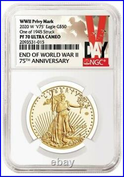 2020 End of World War II 75th Anniversary GOLD Eagle first release NGC PF70