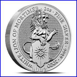 2020 Great Britain 2 oz Silver Queen's Beasts White Lion of Mortimer Coin. 9999