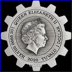 2020 INDUSTRY IN MOTION 1oz Antiqued SILVER GEAR-SHAPED TWO-COIN SET (2oz total)