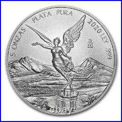 2020 Mexico Libertad 5 oz Silver Limited Capsuled BU Coin ONLY 8.900 MINTED