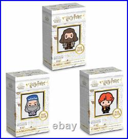 2020 Niue Harry Potter 3 Coin Chibi Weasley Dumbledore Hagrid 1 oz Silver Proof
