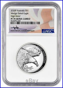 2020 P Australia 1 oz HR Silver Wedge-Tailed Eagle NGC PF70 UC Mercanti SKU60453