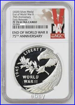 2020 P End of World War 2, II 75th Anniversary 1oz Silver Medal Proof NGC PF70