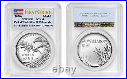 2020 P End of World War 2, II 75th Anniversary Proof Silver Medal PCGS PR70 FS