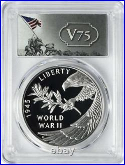 2020 P, PCGS PR70 DCAM FS, End of World War II (2) 75th Anniversary Silver Medal