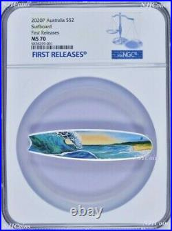 2020 Surfboard 2oz Colored Silver Australia $2 Coin NGC MS 70 FR