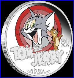 2020 TOM & JERRY 80th ANNIVERSARY 1 oz Silver Proof Colorized $1 Coin