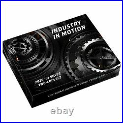 2020 Tuvalu Industry in Motion 1oz Silver Gear Shaped Antiqued Two-Coin Set
