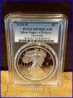 2020-W $1 Silver Eagle End of World War II v75 Privy PR70DCAM First Strike PCGS