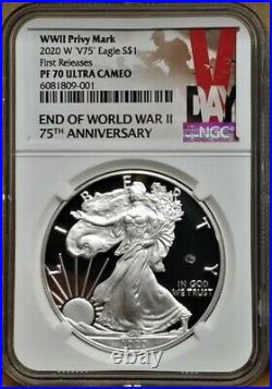 2020 W END of WORLD WAR II 75th ANNIV SILVER EAGLE V75, NGC PF70UC 1st RELEASES