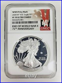 2020 W END of WORLD WAR II 75th ANNIVERSARY SILVER EAGLE V75 NGC PF70
