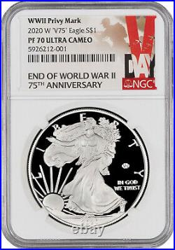 2020 W END of WORLD WAR II NGC PF70UC 75th ANNIVERSARY SILVER EAGLE V75 IN HAND