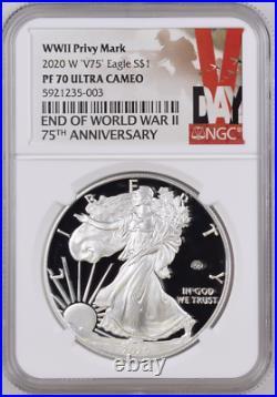 2020 W End World War II 2 75th American Silver Eagle V75 NGC PF70 70 PRESALE
