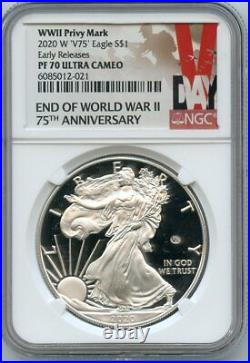 2020 W End of World War II 75th Ann. American Eagle Early Releases V75 NGC PF70