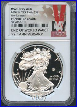 2020 W End of World War II 75th Ann. American Eagle First Releases V75 NGC PF70