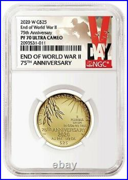 2020 W End of World War II 75th Anniversary 24-Karat Gold PR Coin NGC 70 Presale