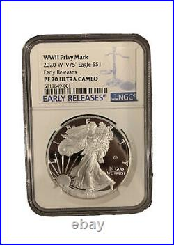2020 W End of World War II 75th Anniversary Silver Eagle V75 NGC PF70 In Hand