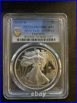 2020 W End of World War II 75th Anniversary Silver Eagle V75 PCGS PR70 in hand