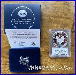 2020 W End of World War II 75th Anniversary Silver Eagle v75 Privy PCGS PR70DCAM