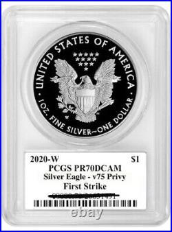2020 W End of World War II 75th WW2 V75 American Silver Eagle Privy PCGS PR70