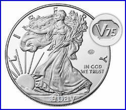 2020 W End of World War WW2 V75 Privy American Silver Eagle Proof PR70 NGC PF70