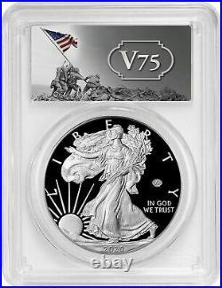 2020 W End of World War WW2 V75 Privy American Silver Eagle Proof PR70 PCGS PF70
