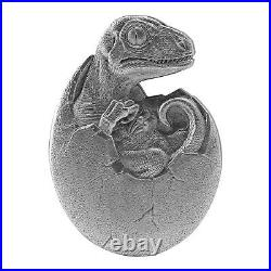 2021 Chad 10,000 Francs Hatched Velociraptor 2 oz. 999 Silver Coin 500 Made