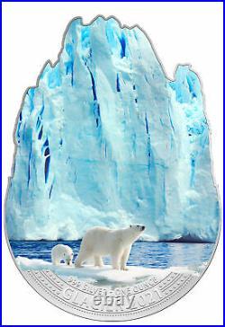 2021 Fiji Glacier Shaped 1 oz Silver Colorized $2 Coin GEM BU OGP
