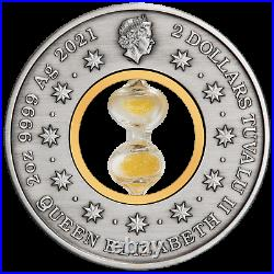 2021 Hourglass 2oz. 9999 $2 Silver Antiqued Coin