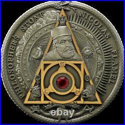 2021 Niue $2 Nicolas Flamel Philosopher's Stone 2 oz Silver Coin Mintage 500