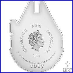 2021 Niue $2 Star Wars Millennium Falcon Shaped 1 oz Silver Coin 5,000 Made
