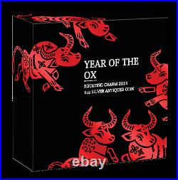 2021 Year of the OX Bead 1oz SILVER $1 Lunar Rotating Charm ANTIQUED COIN