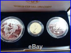 3 Coin World Cup USA Coins Set $5 Gold, $1 Silver, 50¢ 1994 Clad price is cheap