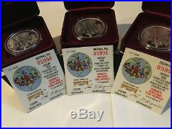 3 Disney 1988 Around the World 1 Oz. 999 Silver Proof consecutive serial # coins