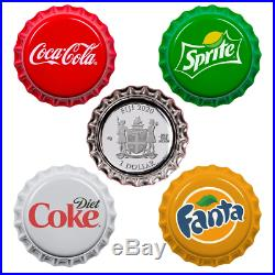 4 x $ 1 Dollar Coca Cola Bottle Cap Vending Machine Set Fiji Silver 2020