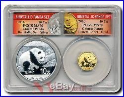 $50 OFF! 2016 Panda 50Y Gold and 10Y Silver Bimetallic Collectors Set MS70