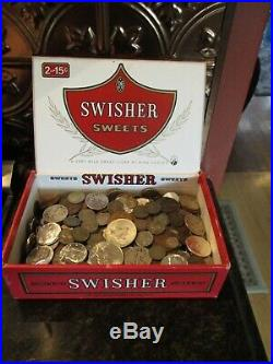 6 Pound Lot of World Coins in A Vintage Cigar Box Plus 9.1 Oz. Of Silver Coins