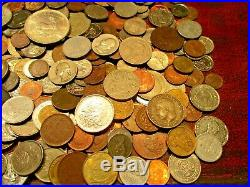 6 Pound Lot of World Coins in A Vintage Cigar Box with 4.5 Oz. Of Silver Coins