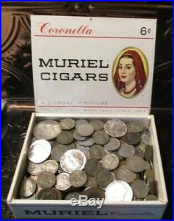 6+ Pound Lot of World Coins in A Vintage Cigar Box with 6 Oz. Of Silver Coins