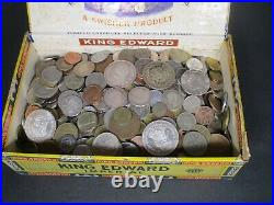 7+ Pound Lot of World Coins in A Vintage Cigar Box Plus 5 Oz. Of Silver Coins