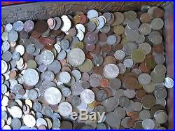 7 Pound Lot of World Coins in A Vintage Cigar Box Plus 9.5 Oz. Of Silver Coins