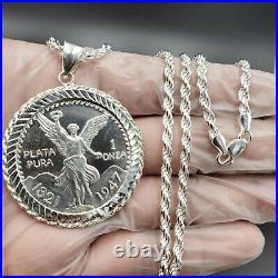 925 Sterling Silver Centenario coins peso 24 inches chain