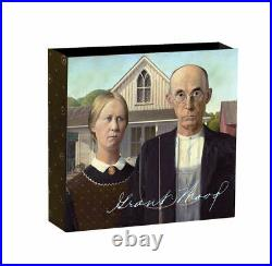 AMERICAN GOTHIC TREASURES OF WORLD PAINTING 2019 1 oz $1 Pure Silver Coin NIUE