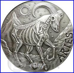 ARIES Memento Mori Zodiac Skull Horoscope Silver Coin 2015