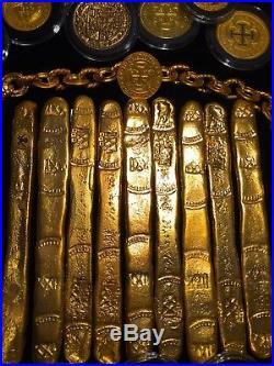ATOCHA (1) GOLD FINGER BAR 22kt PLATED(102.7gm SILVER) 1622 TREASURE BAR ESCUDOS