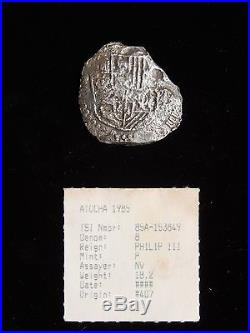 ATOCHA 8 REALE SHIPWRECK SILVER COIN with NUMISMATIC NUMBER FLIPPETTE 1715 PLATE